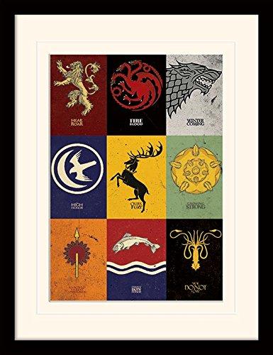 Game of Thrones Trono di Spade (Sigils) 30 x 40 cm Montato e incorniciato, 16 x 12 Inches