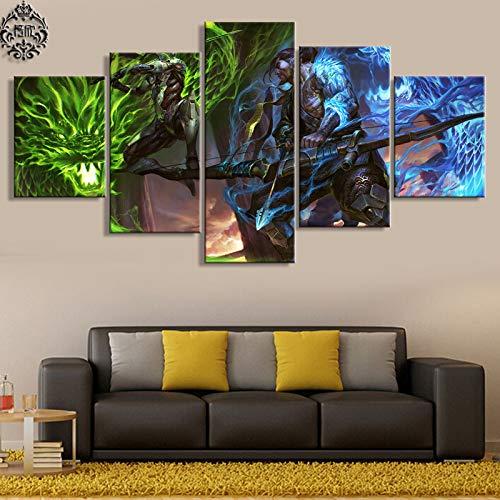 5 Stück Spiel Poster Genji und Hanzo Leinwand Malerei Bilder Wohnkultur für Wohnzimmer Wandkunst gedruckt Kunstwerk(Frameless size2)