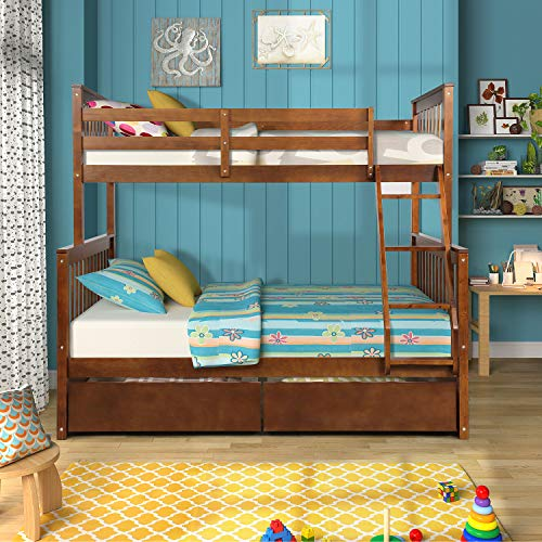 Best Buy! Harper&Bright Designs Twin-Over-Full Bunk Bed with Ladders and Two Storage Drawers, Espres...