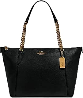Coach Women's Ava Pebbled Leather Chain Tote (Black/Gold)