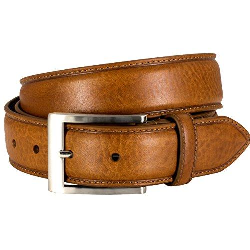 Lindenmann Mens Leather Belt/Mens Belt, full grain leather belt XXL curved, cognac, Größe/Size:100
