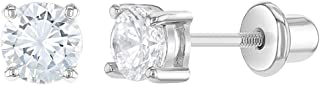 Hypoallergenic 925 Sterling Silver 2,3,4,5mm Clear Cubic Zirconia Stud Children's Earrings with Screw Backs