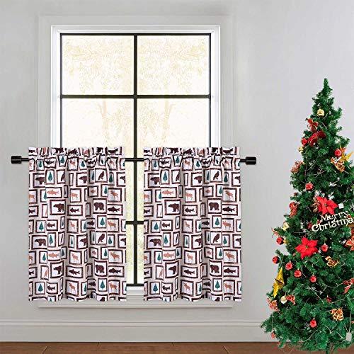 CAROMIO Animals Farmhouse Home Decor Kitchen Tier Curtains for Cafe Short Bathroom Window Curtains, Animals, 30 Inch Length