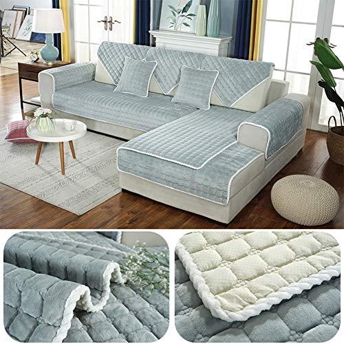 Plüsch Gesteppter Schonbezug Sofa Überwurf, Dicke Schonbezug Sofa Überwurf Nicht-Slip Couch-Abdeckung Furniture Sofa Protector Weich Couch Loveseat Stuhl -grau 90x210cm(35x83inch)