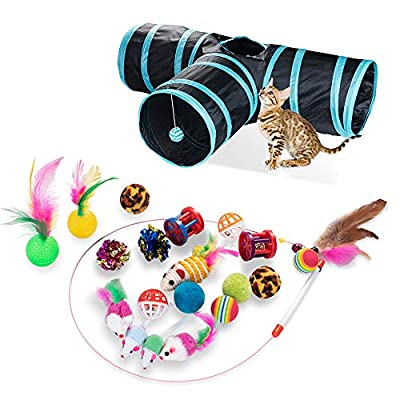 21 PCS Cat Interactive Toys - Kitten Tunnel Toy Assortments Feather Wand Fun Ball Chew Sticks, Fluffy Mouse, Fake Mice, Crinkle Balls, Bell Play Supplies for Kitten (3way-blue)