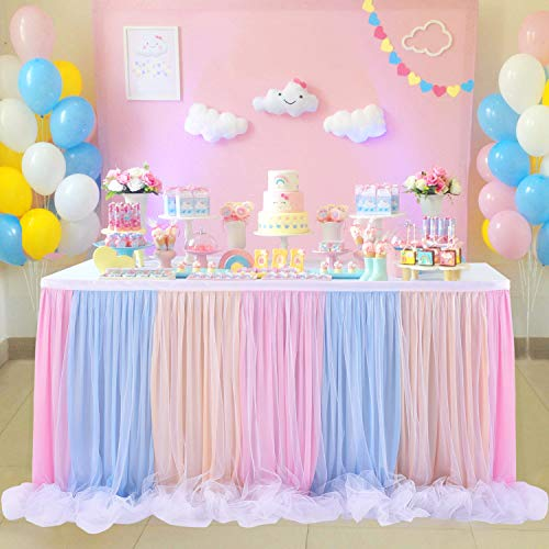 Tulle Tutu Table Skirt for Unicorn Themed Party,Baby Shower Wedding,Rainbow Table Skirt for Rectangle Table or Round Table (L 6(ft) H 30in)