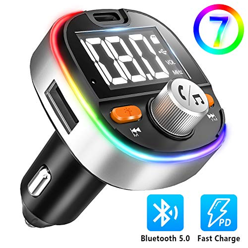 5.0 Bluetooth FM Transmitter for Car, Type-C PD3.0 18W Bluetooth Car Adapter, 7-Colors LED Backlit, Hands-Free Calling, Heavy Bass, Support USB Drive/TF Card and Siri Google Assistant