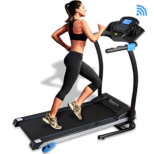 SereneLife Smart Digital Folding Treadmill - Electric Foldable Exercise Fitness Machine, Large Running Surface, 3 Incline Settings, 16 Preset Program, Sports App for Running & Walking (SLFTRD25)