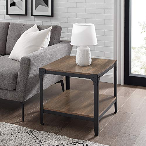 Walker Edison Declan Declan Urban Industrial Angle Iron and Wood Accent Tables, Set of 2, Rustic Oak