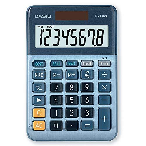 CASIO Tischrechner MS-88EM, 8-stellig, Währungsumrechnung, Cost / Sell / Margin, Aluminiumfront, Solar-/Batteriebetrieb