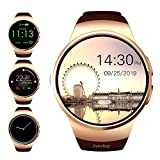 Evershop Smart Watches Fitness Trackers Multi-Function Touch Screen Bluetooth Watch with Sleep Heart Rate Monitor Pedometer SIM Card and TF Card Slot for Android iOS Phone (Gold)