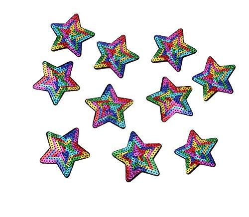 Yalulu 10 Stück Regenbogen Stern Pailletten Patches Aufnäher Aufbügler Applikation Zum aufbügeln Patches Bügelbild Stickerei Aufnäher Aufbügler Patch