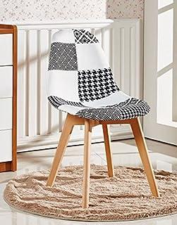 P&N Homewares® Fabia - Silla de comedor con diseño de patchwork, color blanco y negro, estilo retro, moderno, estilo escandinavo, sin brazos.