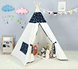 Kids Teepee Indoor Play Tent - Large Cotton Canvas Children Indian Tipi Playhouse