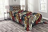 ABAKUHAUS afrikanisch Tagesdecke Set, Kreise Chevrons Linien, Set mit Kissenbezug Kein verblassen, für Einselbetten 170 x 220 cm, Mehrfarbig