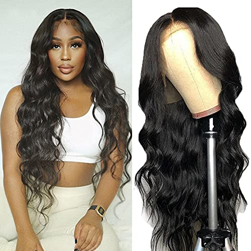 13x4 HD Lace Front Wigs Human Hair Pre Plucked Transparent Lace Wig Brazilian HD Lace Wig Body Wave Lace Front Wigs for Black Women Human Hair Natural Color(18Inch,150% Density, Body Wave Wig)