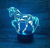 3D Illusion Lampe Led Nachtlicht Pferd Statue 7 Farbe Kreative 3D Lava Lampe Pferd Led Tischlampe Bunte Nacht Nachtlicht Usb Lampe Kinder Geschenk Schlaf Licht, Stil C