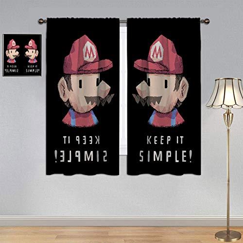 ARYAGO Black Out Cortinas Super Mario Bros, cortina clásica de ventana de tela para habitación de niños de 106 x 182 cm
