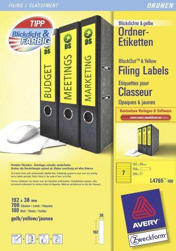 Avery Zweckform, L4765-100, Ordner-Etiketten, 100 Blatt, für schmale Ordner, kurz, z.B. für Leitz, Elba, Esselte, Mehle, Herlitz, Bene, 192 x 38 mm