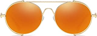 Fashion Gold Frame Blue/Orange Red Lens Men and Women with The Same Driving Sunglasses Personality Frame Casual Fashion Wild New Metal Material Sunglasses Retro (Color : Orange Red)