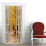 Murales para Puertas 3D para Puertas Papel Pintado Puertas Paisaje de Otoño Fuera de La Ventana Adhesivos para Puertas Extraíble Impermeable Decoración de Hogar Etiqueta de Puerta 95X215CM