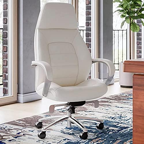 Gates Genuine Leather Aluminum Base High Back Executive Chair - Cream