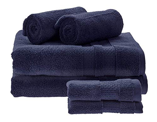 Price comparison product image iDesign Set of 6 Towels for Main or Guest Bathroom,  Soft Bath Towels Set Made of 100 Percent Cotton,  Towel Set with 2 Hand Towels,  2 Bath Towels and 2 Face Cloths,  Navy