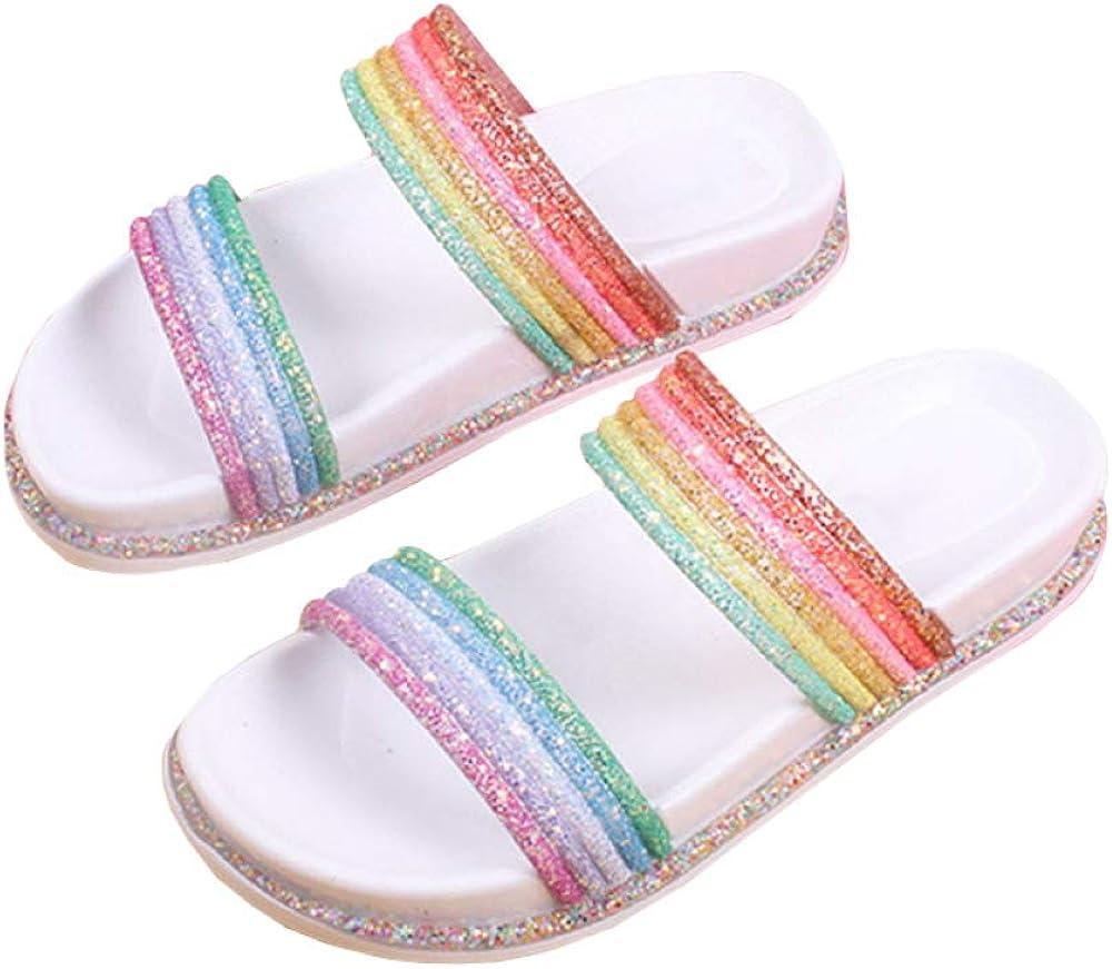 Nailyhome Womens Open Toe Rainbow Slides Sandals Glitter Encrust