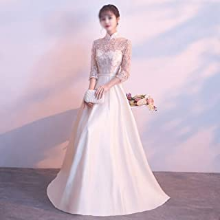 Lace Embroidery Stand Collar Long Sleeve Princess Dress Bridesmaid Dress Women's (Color : Champagne, Size : XL)