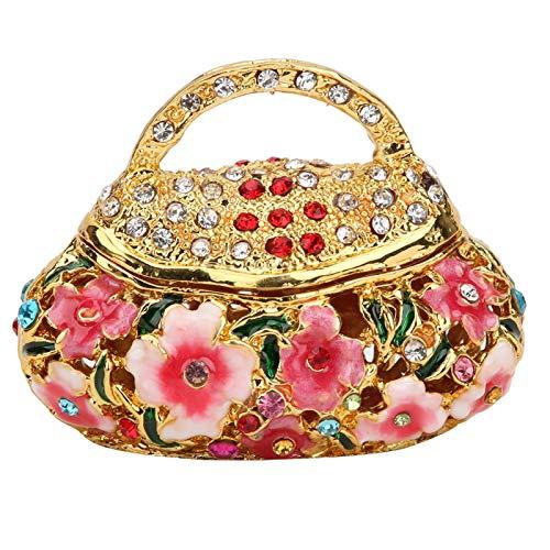 Pequeño Adorno de Caja de baratija, Soporte de Anillo de Pendiente de joyero Vintage esmaltado para decoración de tocador del hogar, Caja de Regalo