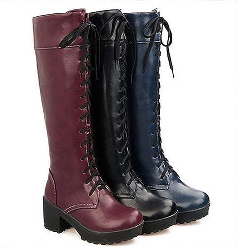 ZHRUI Stiefel de damen - Stiefel cálidas de Rodilla de otoño e Invierno Cordones de tacón Alto Stiefel de damen Stiefel de Moto 34-43 (Farbe   rot, tamaño   38)