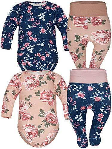 Sibinulo Jungen Mädchen Body Strampler + Hose mit Füßen Kleinkind, 3-6 Monate 100% Baumwolle Babykleidung Set 4er Pack Rosen Mischen