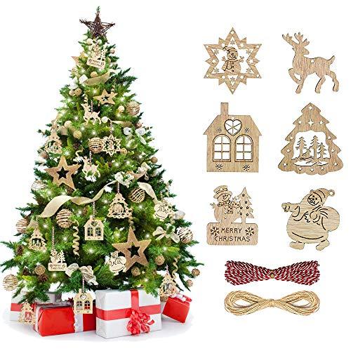TANCUDER 60 Pezzi di Ciondolo Natale Decorazioni Legno con 6 Modelli Pendente Albero Natale Addobbi Natale Legno Ciondolo Natalizio Decorazioni con 2 Corde Natale Etichetta Legno per Alebero Natale