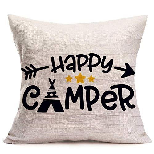 Wadestar Happy Camper Arrow Ethnischer Stil Kissenbezug Wohnzimmer Schlafzimmer Kissenbezug Baumwollbezug für Bett Stuhl Couch Größe 18x18 Zoll
