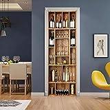 AKSBHC Papel pintado de la puerta 3D, mural 77x200CM Creatividad vitrina vidrio vino tinto Sala de estar dormitorio mejoras para el hogar pegatinas de pared pegatinas de pared impermeables, decoración