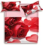 Dolcecasabiancheria Lenzuola Matrimoniale Biancaluna Miss Terry 2 piazze Cotone Digitale Couer Rose Bordy
