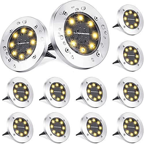 Luce Solare da Giardino, BrizLabs 12 Pezzi 8 LEDs Faretti Solari Luci da Giardino Esterno Sepolta Lampada Solare Luci Terra Impermeabile IP65 per Scala Paesaggio Prato Strade Vialetto, Bianco Caldo