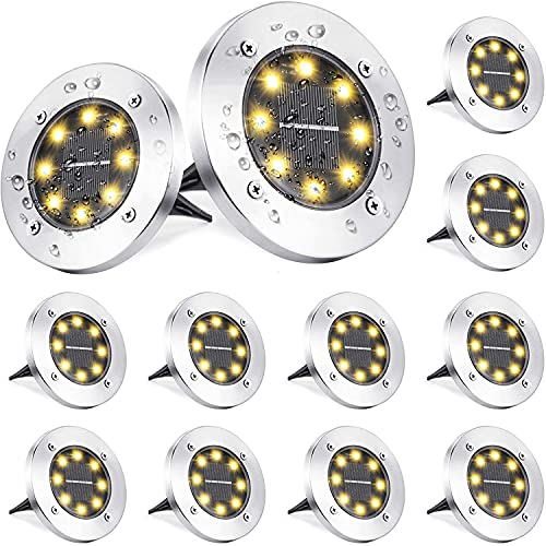 Luce Solare da Giardino, BrizLabs 12 Pezzi 8 LEDs Faretti Solari Luci da Giardino Esterno Faretto Incasso Lampada Solare Luci Terra Impermeabile per Scala Paesaggio Prato Strade Vialetto, Bianco Caldo