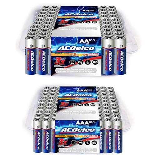 ACDelco AA and AAA 200-Count Combo Pack Super Alkaline Batteries, 100-Count Each, 10-Year Shelf Life, Recloseable Packaging