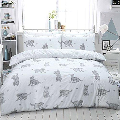 Luxury Animal Print Design Duvet Set Quilt Cover Bedding Single Double King Size[Cat Grey,Single]