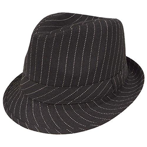 Deguisement Chapeau de gangster Mafia Noir avec bande blanche en pointillee