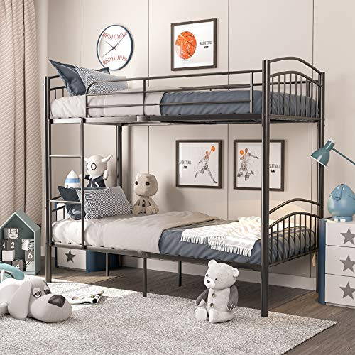 mecor 2 x 3FT Single Metal Bunk Beds Frame, Splits into 2 Beds, for Twins Kids Children Teenagers Adult Dormitory Bed - Black