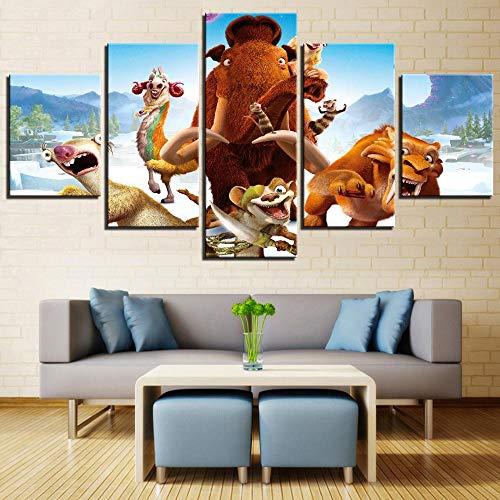 zysymx HD Print Leinwand Bild Moderne Wandkunst 5 Stücke Cartoon Movie Ice Age Tiere Tiger Malerei Winter Poster Wohnkultur Rahmen