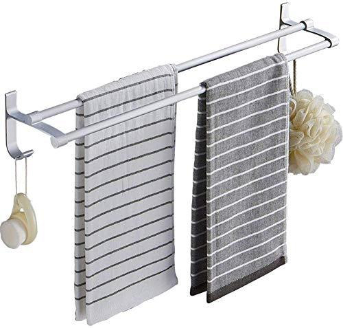 Ruimte Aluminium Dubbele Paal Handdoekenrekken 3M Zelfklevende Handdoek Rail Punch Gratis Wandmontage Handdoekenrekken met Haak voor Badkamer Keuken Bureau Etc 50 cm.