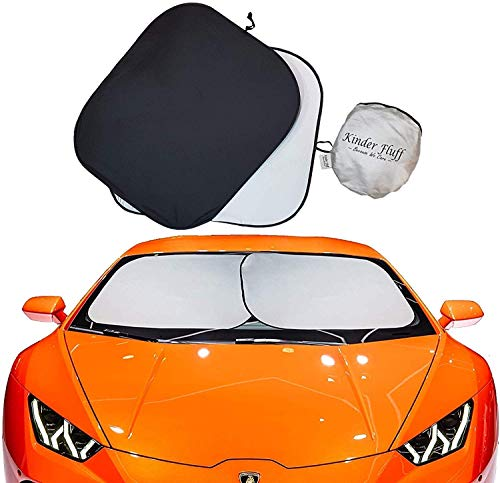 kinder Fluff Car Windshield Sun Shade with Storage Pouch | The only Certified Foldable Sunshade Proven to Block 99.87% UV Rays | Sun Heat Protection & Car Interior Cooler Double Panel (Large)
