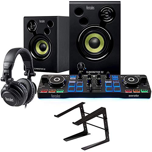 Hercules DJ Starter Kit with DJ Control Starlight, DJMonitor 32, HDP DJ M40.1 Headphones, & Serato DJ Lite + On-Stage Computer Laptop Audio Mixer, Lighting Controller, Midi Controller Stand
