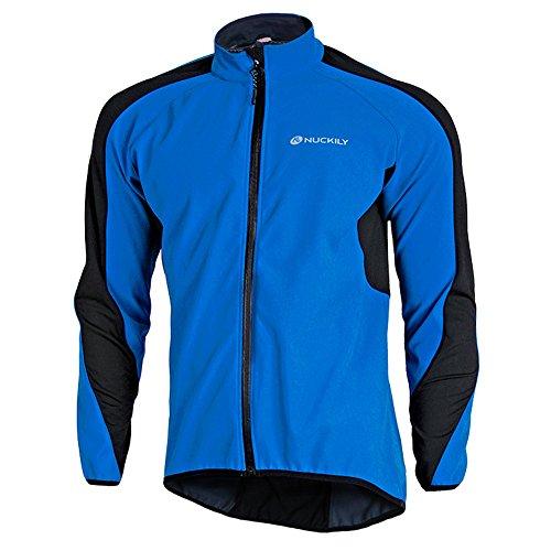 Fitsund Herren Fahrradjacke Winddicht Radjacke Langarm Fleece MTB Jacket (Blau, XL)