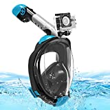 Snorkel Mask, Full Face Snorkeling Mask Easy Breathing Foldable Snorkeling Face Mask with 180° View for Adults Kids, Anti-Fog Anti-Leak Diving Mask with Detachable Sports Camera Mount