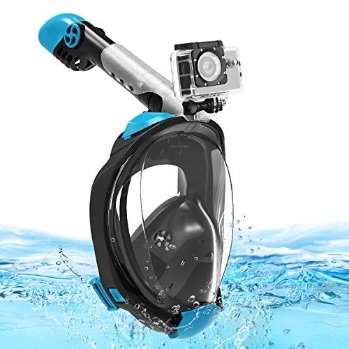 Splend Tauchmaske Vollgesichtsmaske, Faltbare Schnorchelmaske Vollmaske mit 180° Sichtfeld, Anti-Fog Anti-Leck Tauchen Vollmaske mit Abnehmbarer Kamerahalterung für Action-Kameras, Erwachsene Kinder