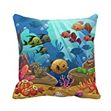N\A Throw Pillow Cover Red Sea Underwater World Pink Under Fish Acuario Juego Funda de Almohada Funda de Almohada Cuadrada Decorativa para el hogar Funda de cojín